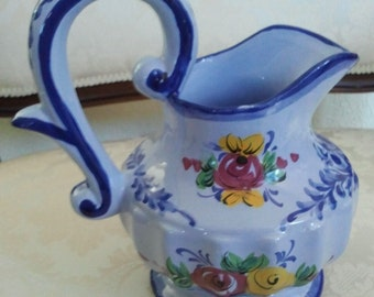 Vintage Pottery Blue Floral Serving Pitcher Hand-painted Made in Portugal