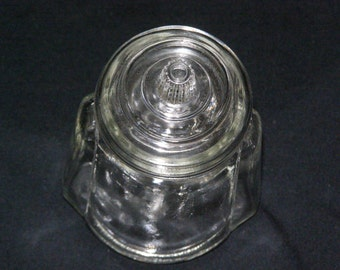 """Vintage Condiment Jar by Anchor Hocking Clear with Lid Small at almost 5"""" Olives Pickles"""