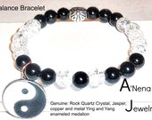 """Men's Bracelet: Jasper, Clear Quartz, Silver Plated Copper, And Enamel Metal, Silver plated Ying and Yang Medallion """" Balance"""" ANena Jewelry"""