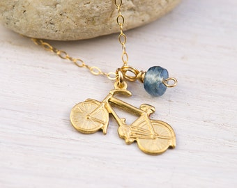 Bicycle Necklace, kyanite necklace, bicycle jewelry, travel jewelry, blue stone