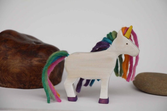 Rainbow Unicorn Wooden Toy - Nature Table - Waldorf Animal