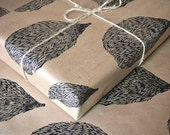 Woodland Hedgehog Hand Printed Wrapping Paper - One Sheet 50 x 70cms - HandmadeandHeritage