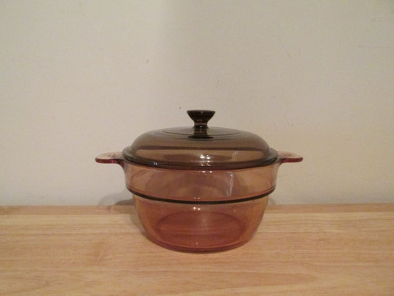 Vintage Pyrex Vision Ware Amber Double Boiler Insert