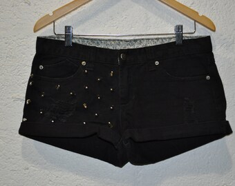 Cone Studded and Distressed Cuffed Black Denim Shorts Hipsters UK 12
