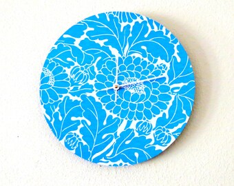 Blue Floral Wall Clock, Monochromatic Art, Decor and Housewares, Home and Living, Home Decor, Unique Clock, Unique Gift