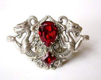 Gothic Statement Ring - Red Swarovski Ring - Women Fantasy Dragon Gothic Jewelry