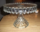Fostoria American Crystal Cake Stand with Rum Well