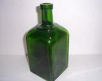 Square Green Glass Bottle, 1960s
