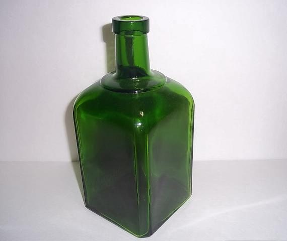 Square Green Glass Bottle 1960s