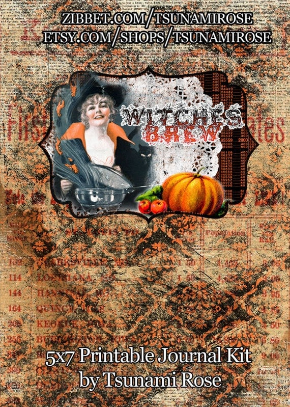 Witches Brew Halloween Printable Journal Kit- INSTANT DOWNLOAD