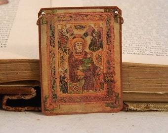 Book of Kells Mary and baby Jesus Jewelry  Mixed media jewelry