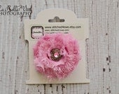 READY TO SHIP Pink Bow, Pink Rhinestone Clip, Pink Shabby Chic Hair Clip, Rose Hair Clip, Baby Hair Clip