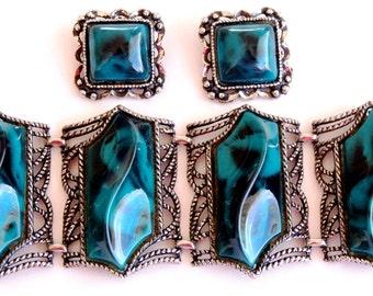 Vintage Chunky Lucite Teal Bracelet Earring Set