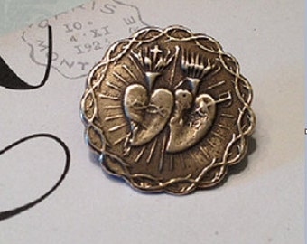 Sacred Flaming Twin Hearts  Bronze Button