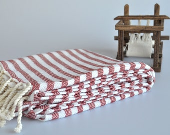 Turkish Bath and Beach Towel Cotton Peshtemal Towel in Red color with white stripes Explorer Style