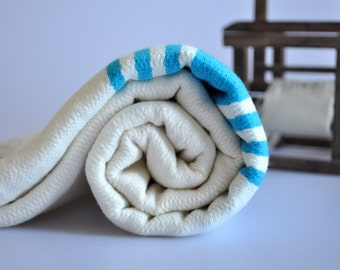 Peshtemal Towel Turkish Towel for beach and bath in Ivory color , Neon Blue striped , cotton towel