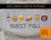 HALF OFF PATTERNS Sale Kawaii Fall Foods Cross Stitch Pattern