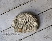 Newborn Textured Oatmeal Tweed Button Hat Photo Prop 0-12 Months
