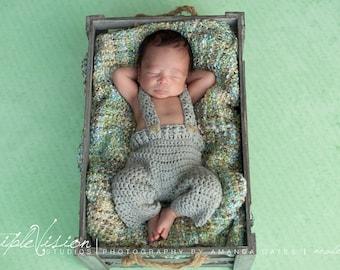 Children's Overalls Button Suspenders Pants Photo Prop Pick Your Color Newborn 6-12 Months