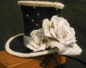 CUSTOM ORDER for Christine Lurk.  Mini Top Hat Fascinator with Paper Flowers