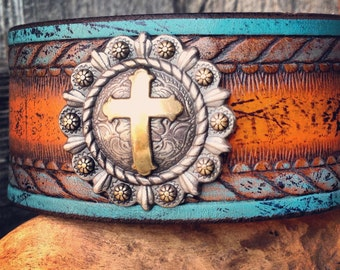 Handmade Leather Cuff Wristband with Silver Cross Concho, Orange, Turquoise, Bracelet