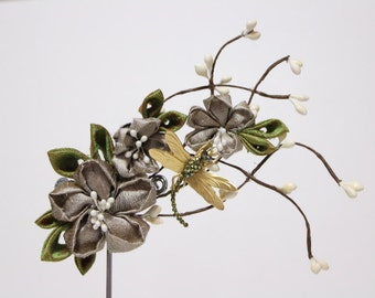 beige Cherry blossom hair accessories clip- Geisha Maiko Kanzashi