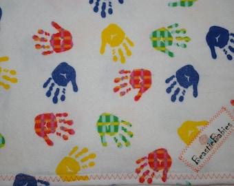 Extra big receiving blanket handprint