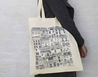 Coastal Cottages tote bag. Fashion bag featuring architectural illustrations. 100% cotton shopping bag. Cotton tote bag. UK manufactured
