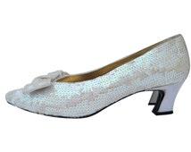 Sequin Shoes White Pumps Sparkle Heels Sparkle Shoes White Wedding Shoe Size 9 Wedding Pumps Sparkly Heels Sparkly Shoes Wedding Dress Shoes