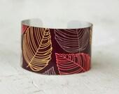 Fall Bracelet - Leaves Cuff Bracelet - Cuff - Deep Purple Bracelet - Fall Jewelry - Leaves - Large Cuff Bracelet by Zoe Madison (169)