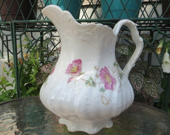Vintage Water Pitcher, White Pitcher with Pink Flowers, China, Biltmore