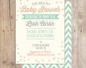 Whimsical Vintage Mint Baby Shower Invitation Bridal Shower Printable or Professionally printed Cards 5x7