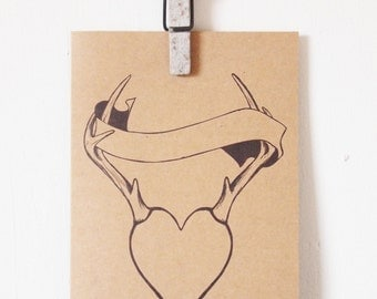 I 'Hart' You Greeting card, love heart antler, scrawl your own greeting