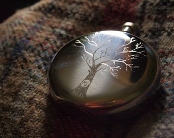 Personalised couples hip flask Customised valentines flask Engraved initialled flask Personalised barware  drinkware engraved tree flask