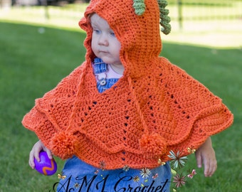 Fall Poncho- Pumpkin or Apple Toddler size