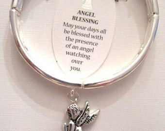 Angel Blessing Silver Stretch Angel Charm Bracelet Hand Stamped