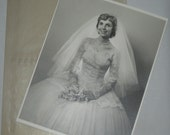 Bride photo 8 x 10 inches vintage 1950s black and white photograph wedding portrait