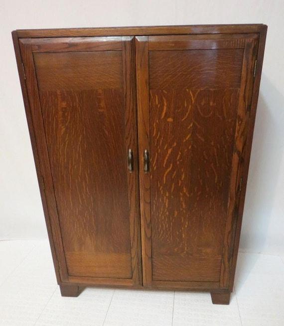 Antique Art Deco Golden Tiger Oak 2 Door By
