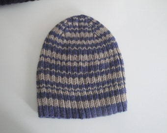 Striped Beanie - Blue & Tan Brown, Knit Hat, Skullie, Teens Guys Men, Gift for Him