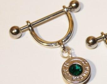 Bullet Dangle Nipple Ring  . YOU PICK Swarovski Crystal