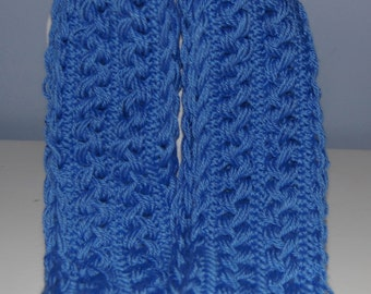 Blue Hairpin Lace Scarf