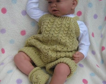 """ALMOST FREE Dungarees/Dress Duo - To fit 0-3 Months/20-22"""" Reborn - Knitting Pattern"""