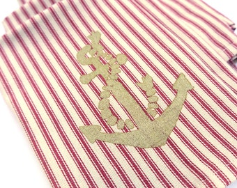 SALE- Gold Anchor Screen Printed Red French Ticking Cloth Napkins - Set of 4 - Free Shipping