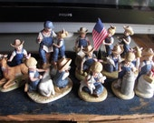 Huge Collection of Denim Days glass figurines holidays and farm animals in Excellent Condition