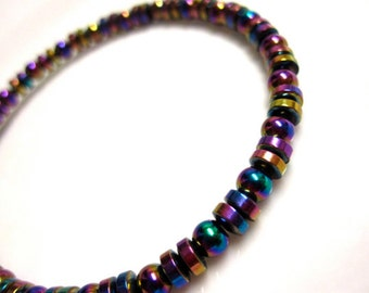 Magnetic Hematite Colorful Rainbow Anklet
