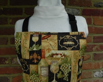Wine theme apron in black gold  green brown print  on black