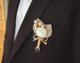 Set of 6 pcs Small Ivory Flower burlap Boutonniere with pearls