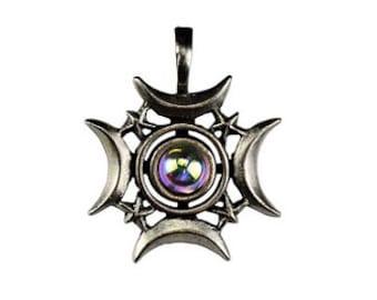 Crescents Rising Pendant - Pewter, Celestial moon, Lunar magick, Moon power, Crescent moon, Full moon, Moon goddess