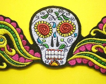 Embroidered Day of the Dead Sugar Skull Iron On Applique Patch,  Fancy Skull, Sugar Skull, Mexican