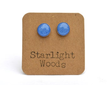 Mykonos Blue Stud Earrings. Solid Blue Studs. Wood Earrings. Simple Blue Studs. Starlight Woods